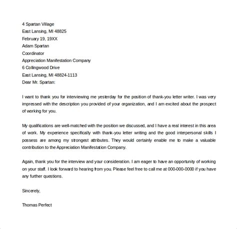 FREE 16+ Sample Thank You Letter Templates in PDF   MS Word