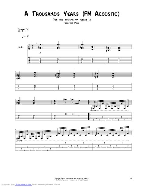 A Thousand Years Acoustic guitar pro tab by Christina
