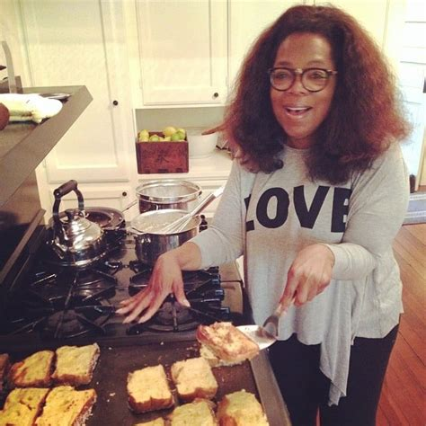 Oprah cooked up a batch of coconut french toast at her