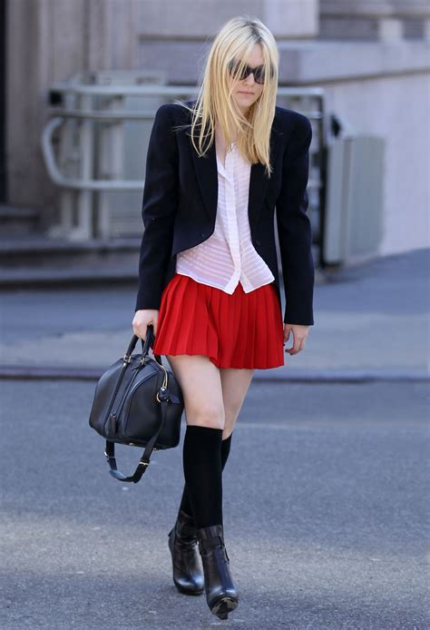Dakota Fanning in School Outfit Out and About in New York