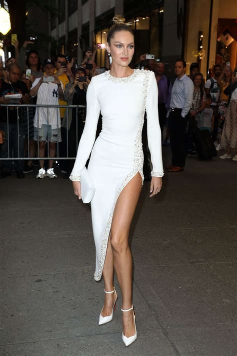 Candice Swanepoel in White Long Dress – Out in New York
