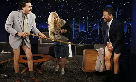 Borat and his daughter Tutar force Jimmy Kimmel to strip