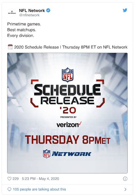 NFL to release 2020-2021 schedule, May 7, 2020