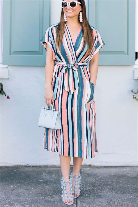 Multicolor Striped Wrap Dress in Charleston   Style Charade