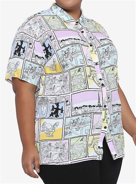 Disney The Aristocats Comic Book Panel Woven Button-Up