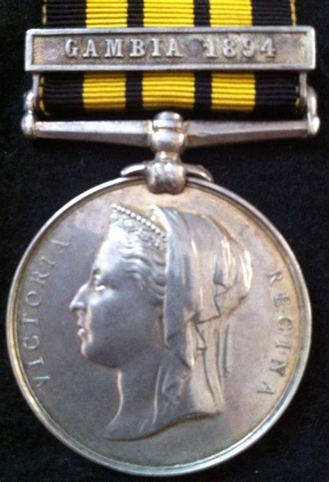 """A Very Scarce EAST & WEST AFRICA MEDAL (""""GAMBIA 1894"""") To"""