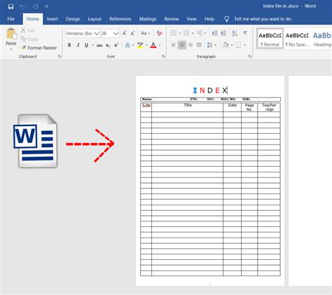 Blank Index page - DOCX/word file download