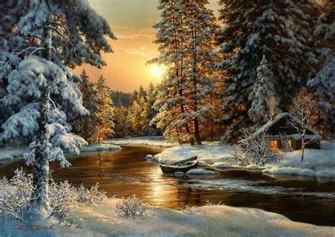 Beautiful Snow Scene's ~   Forest painting, Landscape