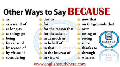 Other Ways to Say BECAUSE - English Study Here
