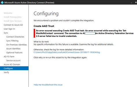 """Office 365: """"Azure AD Connect Preview"""" Setup Fails with"""