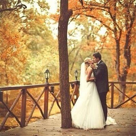 Sweet Autumn Wedding Kiss Pictures, Photos, and Images for