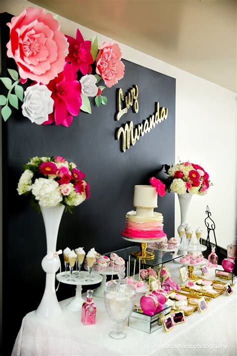 Pink and Black Floral Baby Shower - Baby Shower Ideas