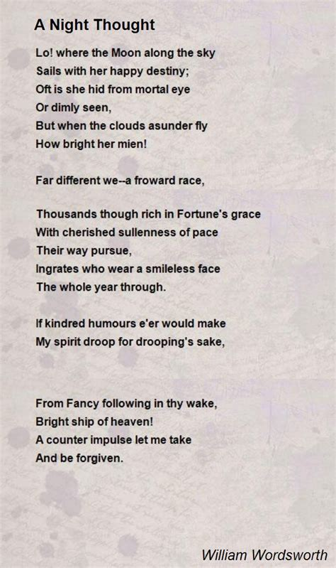 A Night Thought Poem by William Wordsworth - Poem Hunter