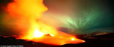 Earth, solar wind and fire: Northern lights and molten
